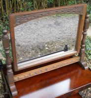 Carved Oak Swing Toilet Mirror by Old Charm